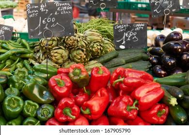 Fresh vegetables for sale on market stall in Aix en Provnece, France