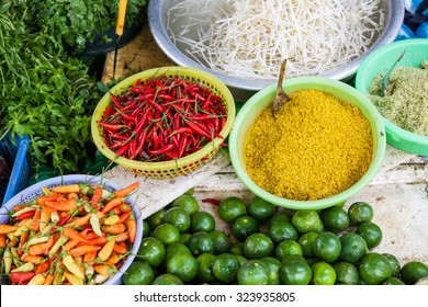 Fresh vegetables and spices at vietnamese street market, Vietnam.