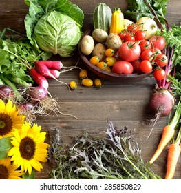Fresh vegetables with sunflowers
