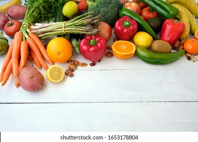 Fresh vegetables variety background with space for text