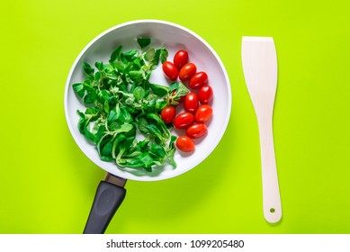 Fresh vegetables in white ceramic pan