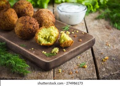 fresh vegetarian falafel  with tzatziki sauce, selective focus
