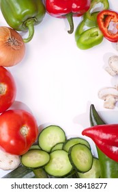 Fresh veggies on clean white table top with space for your text