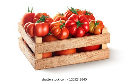 Fresh village tomatoes in wooden case with clipping path
