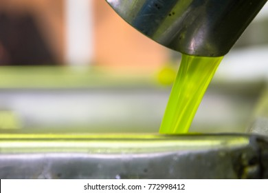Fresh virgin olive oil pouring into tank at a cold-press factory after the olive harvesting, Crete, Greece.