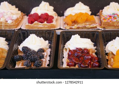 Fresh waffles with cream and fruit toppings, Volendam, Netherlands