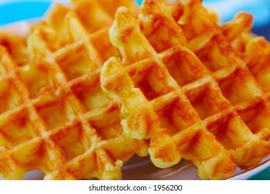 Fresh waffles - partially blurred