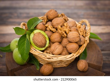Fresh walnuts in the basket