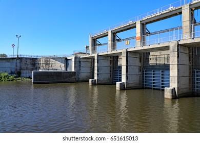 The fresh water dam on Lake Okeechobee, Port Mayaca Lock & Dam, regulates water exiting the lake.