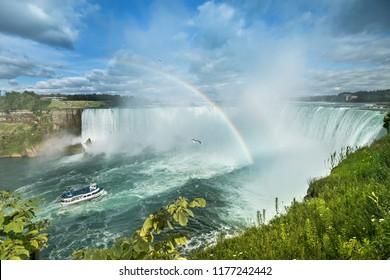 Fresh water flows over the Horseshoe Falls, Niagara Falls, Ontario, Canada