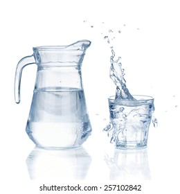 Fresh water glass with splash and bottle isolated on a white background