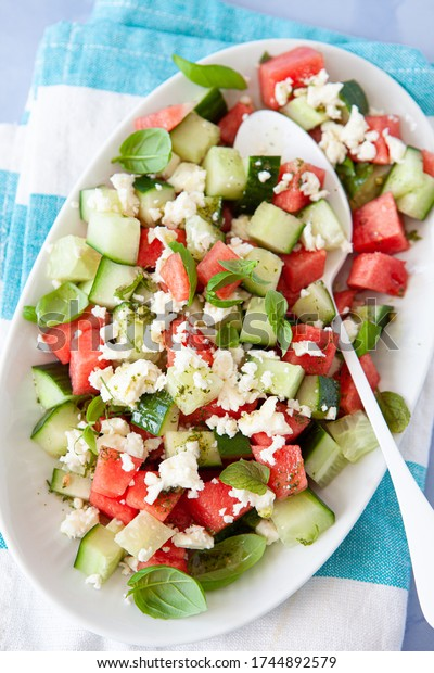 Fresh water melon salad with cucumber and feta cheese