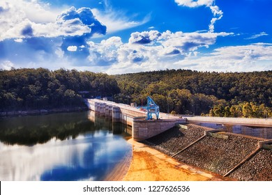 Fresh water reservoir on Warragamba river formed by Warragamba dam as part of water supply scheme for Greater Sydney in Australia on a sunny day.
