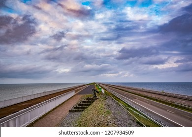 "Fresh Water - Salt Water - ""Afsluitdijk"", 40 kilometer long Enclosure Dam in North Netherlands"