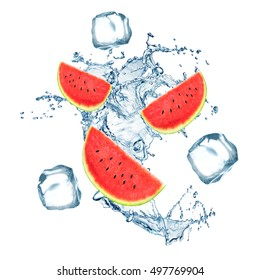 Fresh watermelon falling in water with splash and ice cubes on white background.