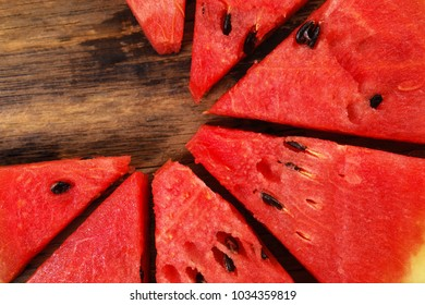 Fresh watermelon on a wooden background, Food top view