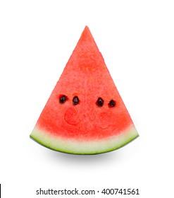 Fresh watermelon slice isolated on white background.
