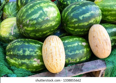 Fresh watermelons and melons ready to sale at the local farmers market