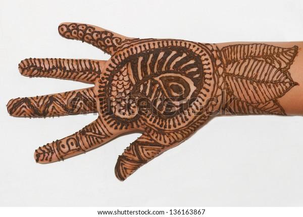 Fresh Wet Henna Paste Applied Intricate Stock Photo (Edit