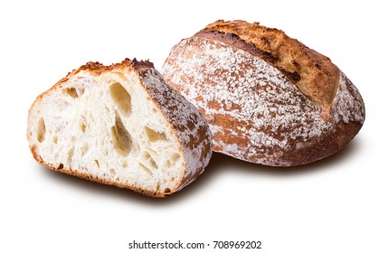 Fresh wheat french bread isolated on white background