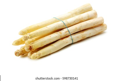 Fresh white asparagus isolated on a white