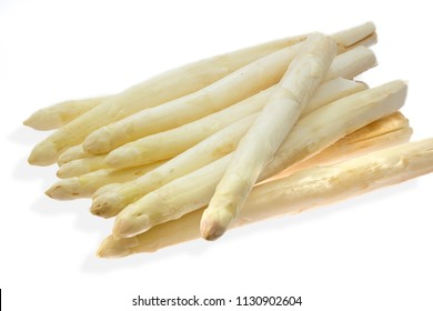 Fresh white asparagus on white background