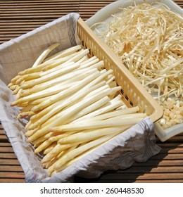 Fresh white asparagus with peelings
