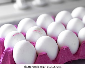 fresh white eggs with barcode numbers on red egg case.