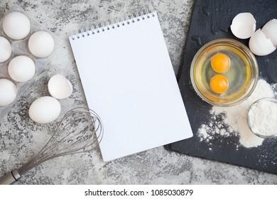fresh white eggs on tablr