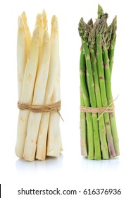 Fresh white and green asparagus bunch vegetable isolated on a white background