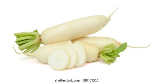 fresh white radish with slices isolated on white background