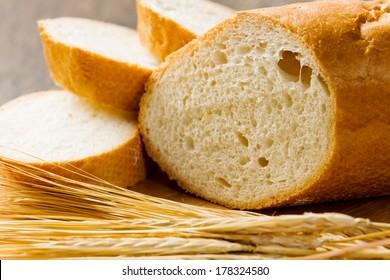 Fresh white sliced bread lying on table