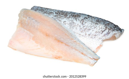 Fresh white striped bass fish isolated on white background, White striped bass fish isolated on white with clipping path.