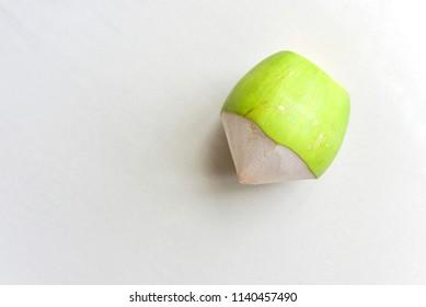 Fresh Whole Coconut Isolated on White Background