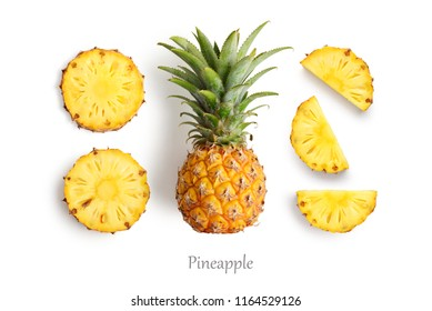 Fresh whole and cut pineapple isolated on white background, top view