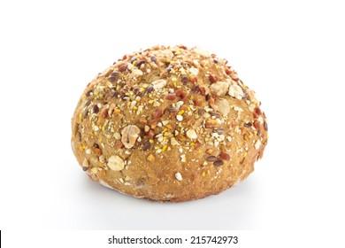 Fresh whole grain bread on white background