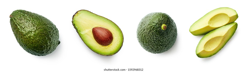Fresh whole, half and sliced avocado isolated on white background, top view