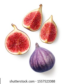 Fresh whole and sliced fig isolated on white background, top view