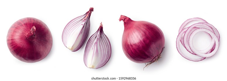 Fresh whole and sliced red onion isolated on white background, top view
