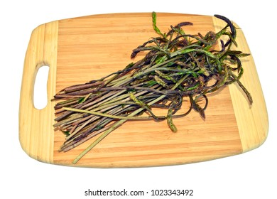 fresh wild asparagus ready for cooking