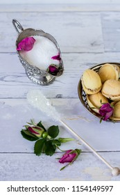 fresh wild rose petals, sugar and homemade cookies called nuts