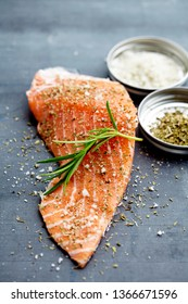 fresh wild salmon fillet with herbs and sea salt
