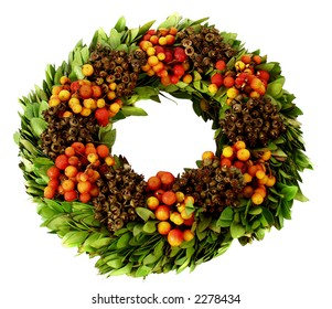 Fresh winter fruit wreath for feeding the birds