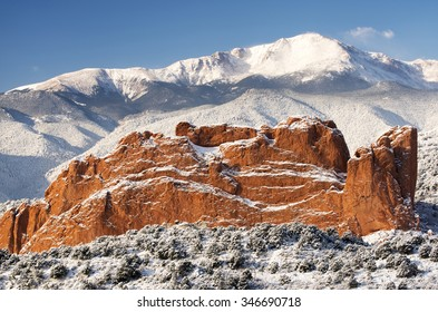 A fresh winter snow covers Pike's Peak and The Garden of the Gods in Colorado Springs Colorado.