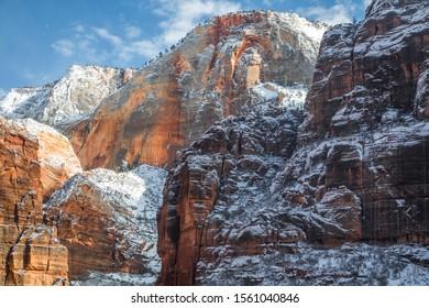 Fresh winter snow has fallen at Zion National Park, Utah