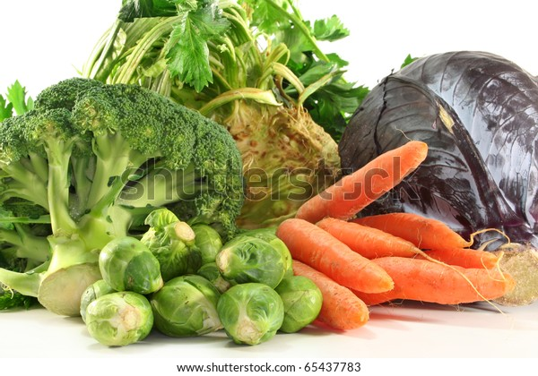 fresh winter vegetables on a white background