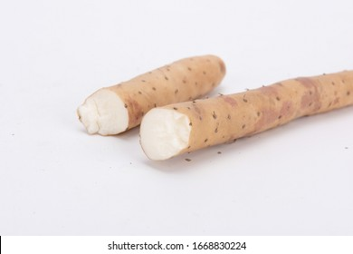 Fresh yam on white background.stock photo