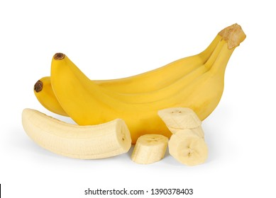 Fresh yellow bright bananas with peeled banana slices isolated on white background. Сlipping path. Fruits as package design element. Full depth of field.