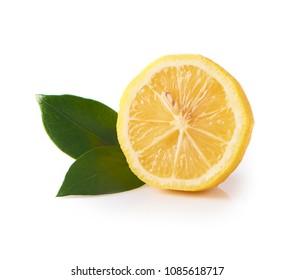 Fresh yellow lemon isolated on white background