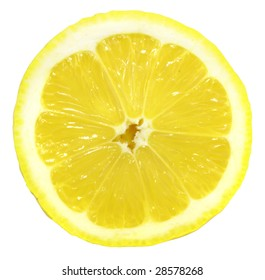 fresh yellow lemon isolated over white with clipping path